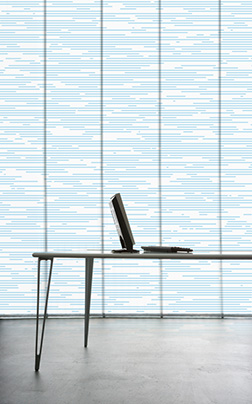 Motif on panel blinds for office- or spa-interiors, generative pattern for architecture and interior furnishings